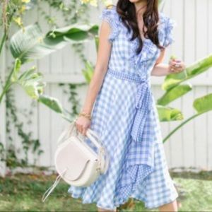 Tahari Spring Blue Gingham Check Dress